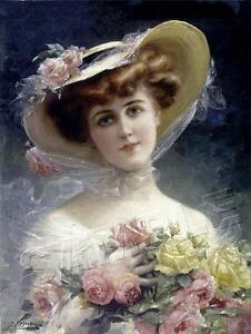 VICTORIAN Lady CHIC Shabby ROSE Emile Vernon *CANVAS* Giclee Art Print LARGE $49.80