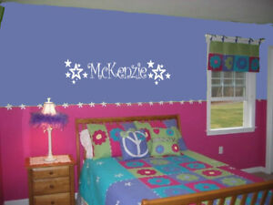 GIRLS NAME amp; STARS VINYL WALL DECAL DECOR STICKER KIDS WALL LETTERING KIDS ROOM