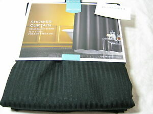 New Home From Target Solid Black Stripe Fabric Shower Curtain 72x72 NIP