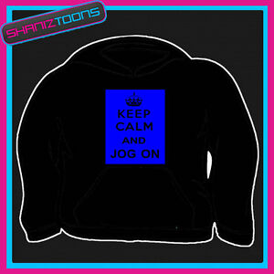 KEEP CALM AND JOG ON JOGGING RUNNING GYM HOODIE ALL SIZES & COLOURS