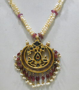 Vintage antique 20K Gold Pearl Necklace pendant from Rajasthan India