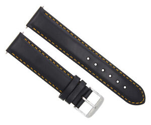 18MM SMOOTH LEATHER STRAP BAND BRACELET FOR MONTBLANC WATCH BLACK OS #4
