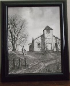 H Hargrove Signed Lithograph quot;Schoolquot; Canvas Print Framed $65.00