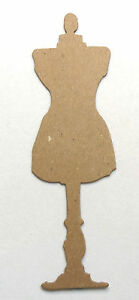 Tim Holtz Dress Form Sewing Room Raw White Chipboard Die Cut Embellishments