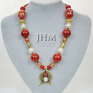 Designer Necklace - Coral & Pearl Pendant with Red & Gold Murano and Red Agate