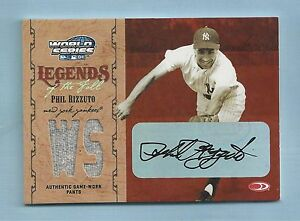 PHIL RIZZUTO 2004 WORLD SERIES LEGENDS OF THE FIELD JERSEY AUTOGRAPH AUTO 50