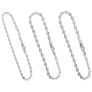 Sterling Silver Puffed AnchorMariner Chain NecklaceBracelet 2.5mm3.5mm4.2mm