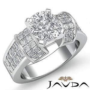 Designer Cushion Diamond Engagement Ring GIA I Color SI1 14k White Gold 2.96 ct