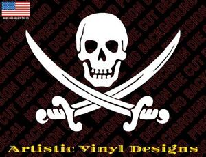 Jolly Roger skull pirate decal sticker for wall, car, laptop, etc