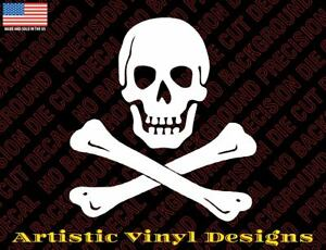 Skull and cross bones pirate decal sticker for wall, car, laptop, etc