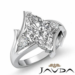Designer 3 Stone Marquise Diamond Engagement Ring GIA F VS2 14k White Gold 1.2ct