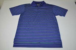 ADIDAS GOLF DRY FIT CLIMA COOL BLUE GREEN STRIPED POLO SHIRT MENS SIZE SMALL S