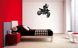 DIRT BIKE MX MOTOCROSS MOTORCYCLE DECAL WALL VINYL BOYS STICKER ROOM STICKY