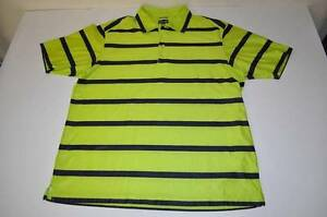 ADIDAS SPORTS FITNESS GREEN BLACK STRIPED DRY FIT POLO SHIRT MENS SIZE LARGE L