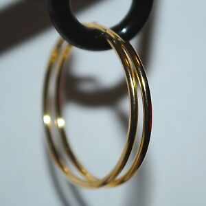 Endless Plain Hoop 14K Solid Yellow Gold Earrings 10mm-25mmX1.5mm