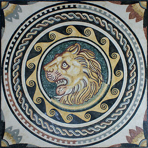 Art Tile Stone Majestic Floral Decor Lion Face Design Marble Mosaic AN896