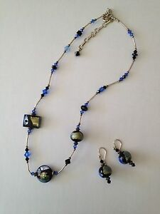 VENETIAN GLASS NECKLACE & EARRING SET (BLUEBLACKOLIVESILVER)