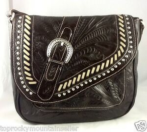 American West Saddle Shop Crossbody Tooled Leather Handbag Purse Brown