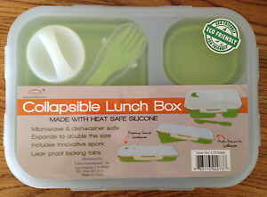 Eco Friendly Silicone Collapsible Heatable Lunch Container with Flatware