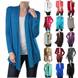 USA Women Long Sleeve Cardigan Open Front Draped Solid Casual Irregular Hem