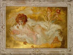 BLAME IT ON THE APPLE Julian Ritter Original Oil Painting Gold Leaf 21X32