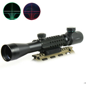 3 9x40 Hunting Rifle Scope Red Green illuminated Range Finder with Mounts