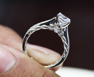 2.00 Ct. Natural Round Cut Scroll Design Pave Diamond Engagement Ring - GIA