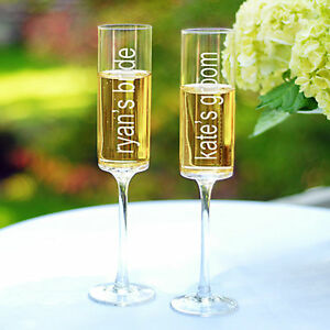 Personalized Bride Groom Name Wedding Toasting Champagne Flutes Set of 2