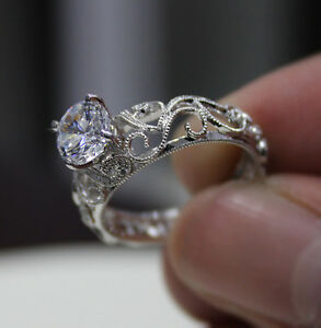 1.61 Ct. Natural Round Cut Scroll Design Diamond Engagement Ring - GIA Certified