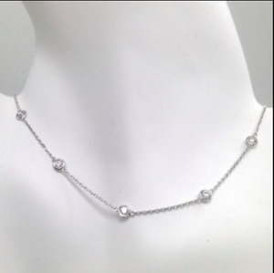 1.5 Ct Diamond By The Yard Station Necklace Round Tennis 14k Solid Gold Natural
