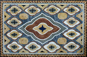Wide Open Carpet Rug Hand Made Marble Mosaic GEO1951