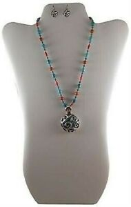 Barse Turquoise and Silver Necklace and Earrings Set