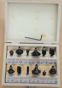 12pcs Router Bits Set Carbide Tipped,1/4'' Shank with Wooden Carry Case