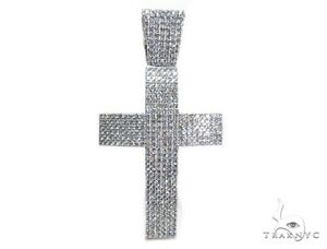 Mens Ladies Women Diamond 14k White Gold Round Cut G Color Charm Cross 20.96ct