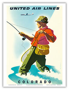 Colorado Fisherman Fly Fishing Vintage Airline Travel Art Poster Print