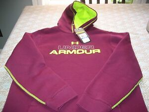BOYS YOUTHS UNDER ARMOUR ALLSEASONGEAR HOODIE HOODY PLUM SIZE YXL XL NWT