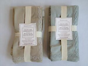 WILLIAMS SONOMA CHAIN LINK EMBROIDERED COTTON NAPKINS Set NEW Gray Blue or Flax