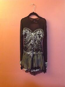 Georgics  FIGURE SKATE  handmade DRESS BLACK with  many stones sz. SMALL NEW