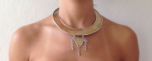 Tribal Desing Gold Plated Short Weaved 925 Silver Choker Necklace  with Pendant