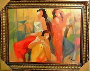 GHOLAM YUNESSI Relaxing Melody ORIGINAL Oil Framed Canvas Signed COA List $17000 $4750.00