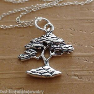 Cypress Tree Necklace 925 Sterling Silver Cypress Charm Tree Jewelry $28.00