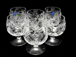 Set of 2 to 6 Russian Cut Crystal Brandy Glasses 10 oz - Soviet Cognac Snifters