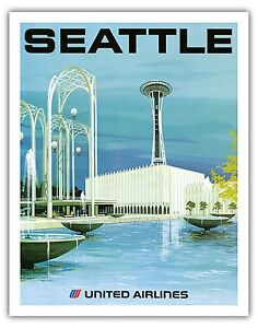 Seattle Emerald City Space Needle Vintage Airline Travel Art Poster Print Giclee