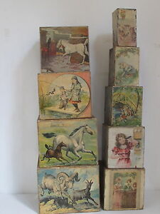 1880 paper lithograph over wood toy stacking