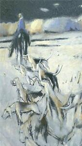 Vtg SIGNED Hunting Oil PAINTING Horse Dogs LEBOZEC French Impressionist