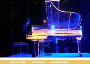 Full Crystal Grand Piano Handcrafted Transparent Crystal Grand Piano Auto Play