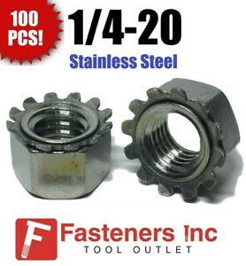 (Qty 100) 1/4-20 Kep Hex Star Lock Nuts Stainless Steel CoarseThread 18-8 / 304