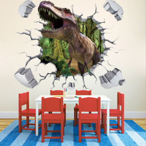 NEW 3D dinosaur T rex Removable Wall Stickers Decal Kids room Home Decor USA