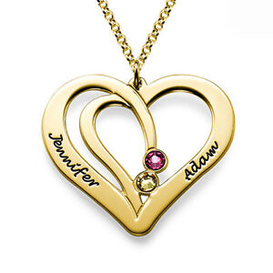 Engraved Couples Birthstone Necklace in Gold Plating Personalized USA Seller