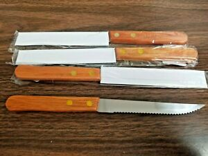 (FOUR KNIVES) STEAK KNIFE WOOD HANDLE S/S SERRATED EDGE POINTED TIP/RESTAURANT